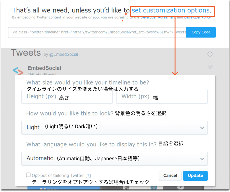 set-twitter-timeline-embed-options